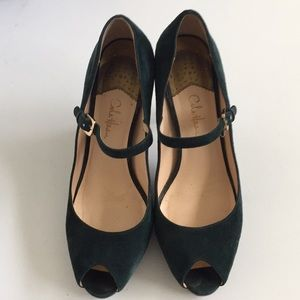Cole Haan green suede Mary Jane peep toe pumps, 8B